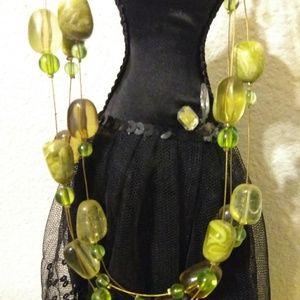 Triple strand beaded necklace and bracelet set